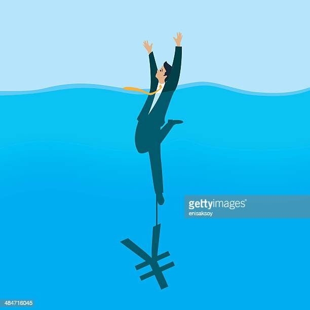 exchange risk - drowning stock illustrations, clip art, cartoons, & icons