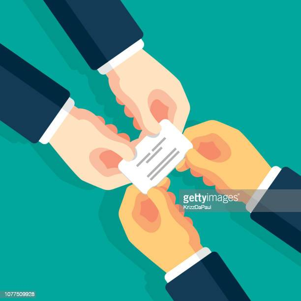 exchanging business card - exchanging stock illustrations