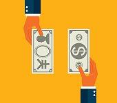 Exchanging dollar and Japanese Yen