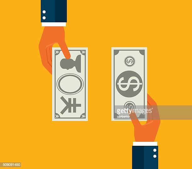 austauschen-dollar und japanische yen - devisenkurs stock-grafiken, -clipart, -cartoons und -symbole