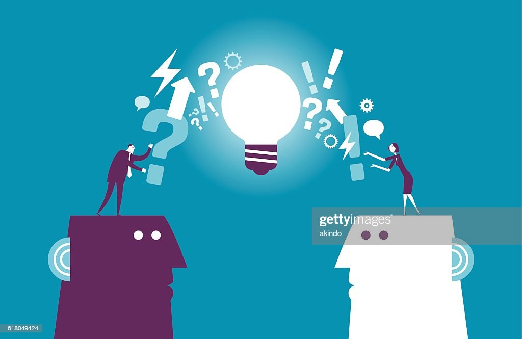 Exchanging question and idea : stock illustration