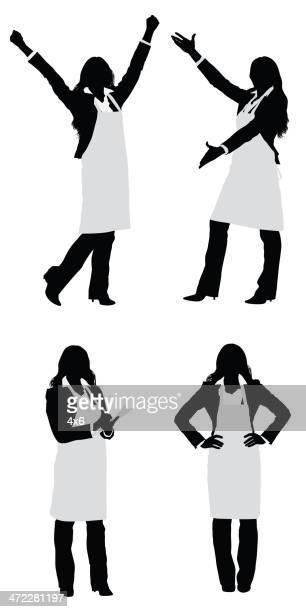 baker 女性興奮、エプロンを着ている - ジェンダー・ステレオタイプ点のイラスト素材/クリップアート素材/マンガ素材/アイコン素材