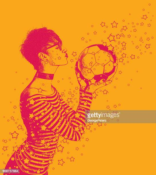 excited female soccer fan kissing soccer ball - obsessive stock illustrations, clip art, cartoons, & icons