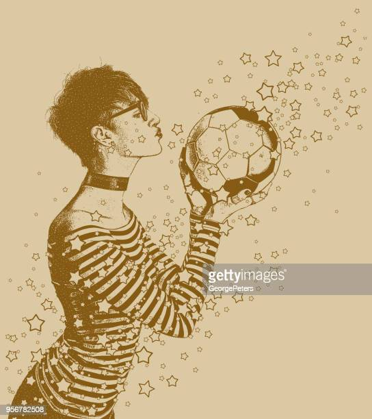 excited female soccer fan kissing soccer ball - bisexuality stock illustrations, clip art, cartoons, & icons
