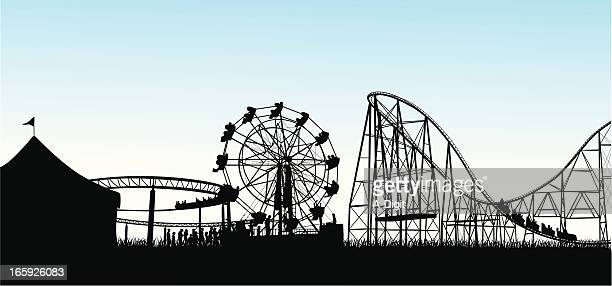 excitement! vector silhouette - carnival ride stock illustrations, clip art, cartoons, & icons