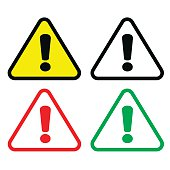 exclaimation alert triangle icon set