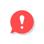 Exclamation mark in bubble speech vector icon. concept os attention or warning sign. Danger information or risk info icon. Flat vector illustration isolated on white background.