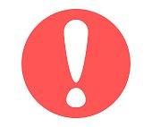 Exclamation mark in cartoon style. Alarm vector icon.