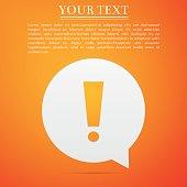 Exclamation mark in circle. Hazard warning symbol flat icon on orange background. Vector Illustration