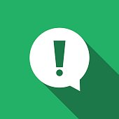 Exclamation mark in circle. Hazard warning symbol flat icon with long shadow. Vector Illustration