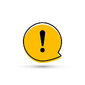Exclamation mark sign icon. Attention speech bubble symbol. Round colourful 11 buttons. Vector icon