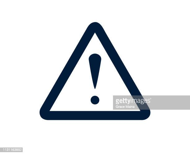 exclamation mark sign warning about an emergency - safety stock illustrations