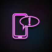 exclamation message on smartphone icon. Element of Minimalistic  icons for mobile concept and web apps. Neon exclamation message on smartphone icon can be used for web