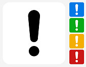 Exclamation Point Icon Flat Graphic Design