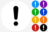 Exclamation Point Icon on Flat Color Circle Buttons