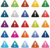 Exclamation point sign arrow pictogram satin triangle icon web button