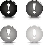 Exclamation point sign circle icon gray black button reflection shadow