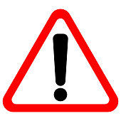 Exclamation point sign in red triangle. Vector icon