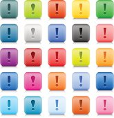 Exclamation point sign web button color stone style internet icon