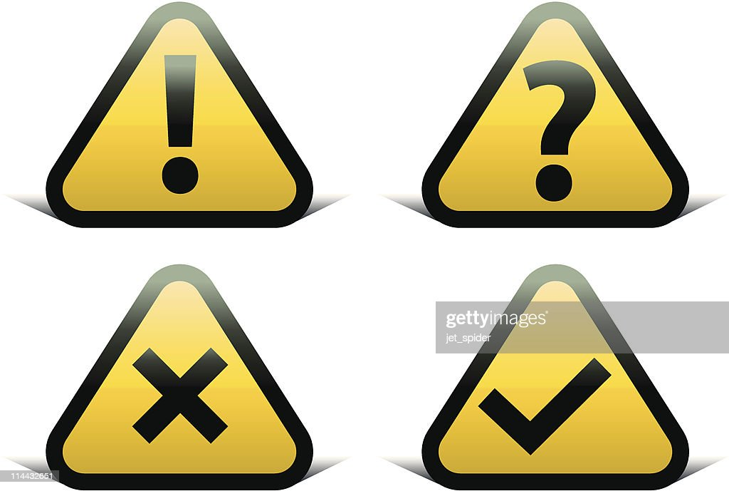 Exclamation, question, cross and tick signs