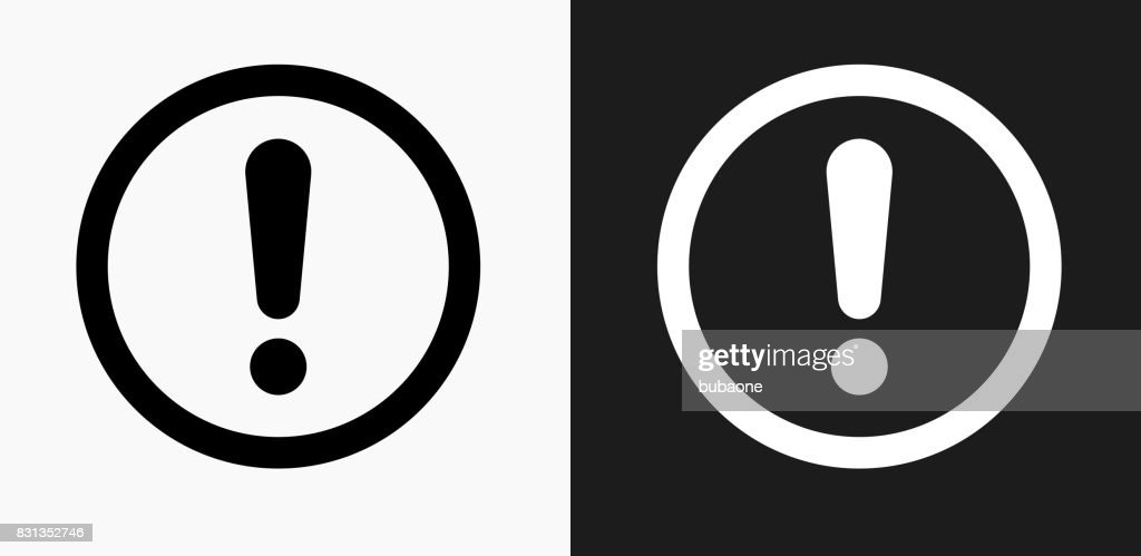 Exclamation Sign Icon on Black and White Vector Backgrounds