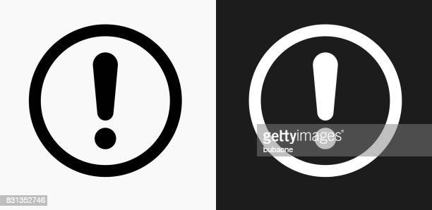 exclamation sign icon on black and white vector backgrounds - exclamation mark stock illustrations
