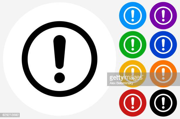 exclamation sign icon on flat color circle buttons - danger stock illustrations