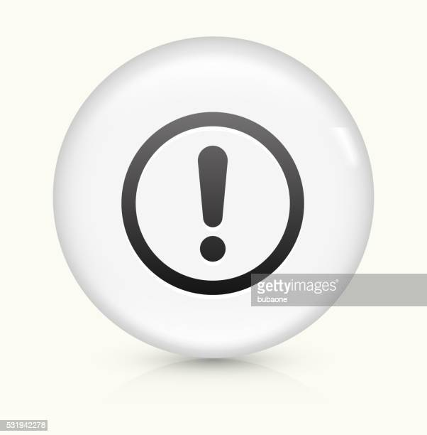 Exclamation Sign icon on white round vector button