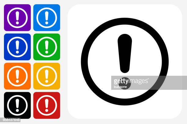Exclamation Sign Icon Square Button Set