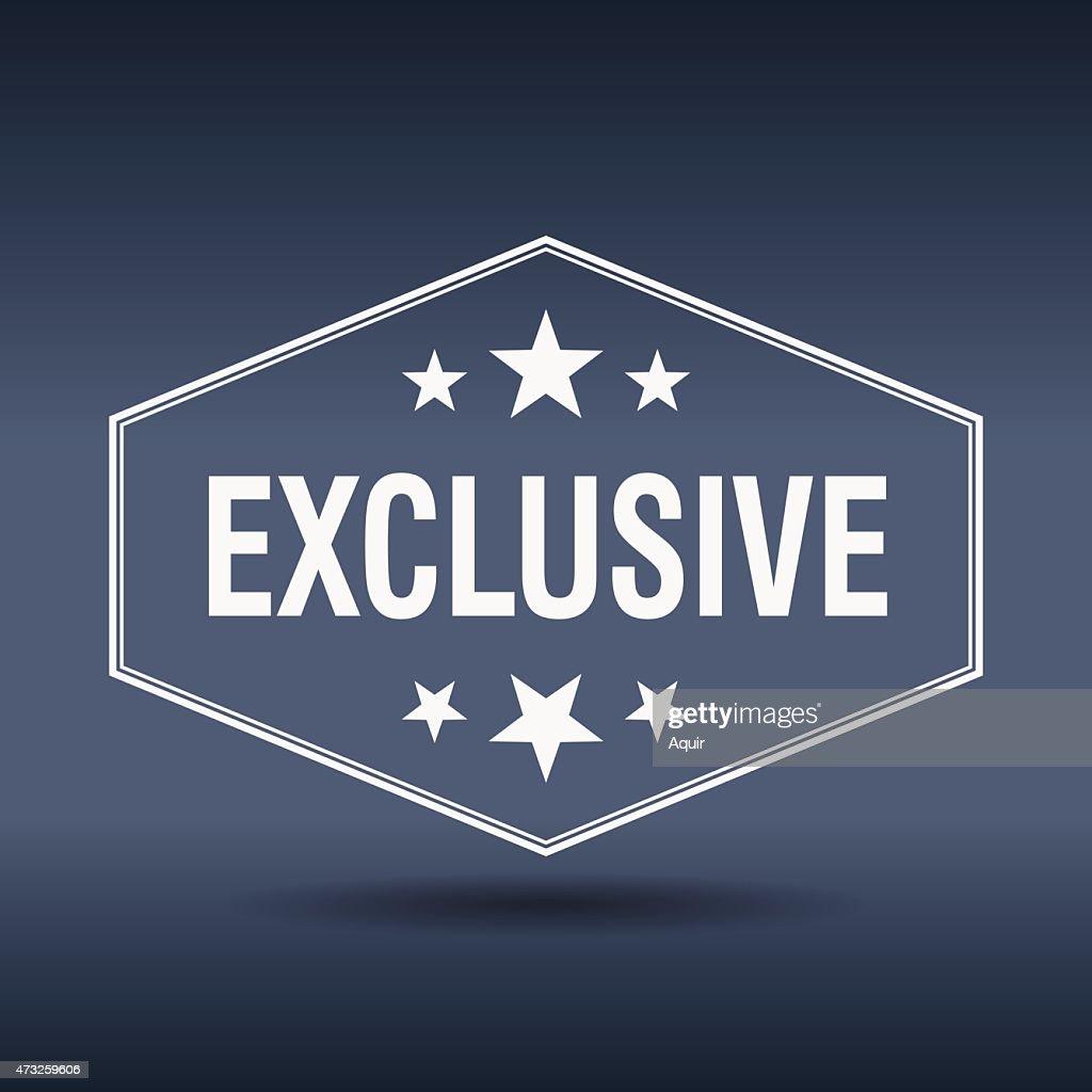 exclusive hexagonal white vintage retro style label