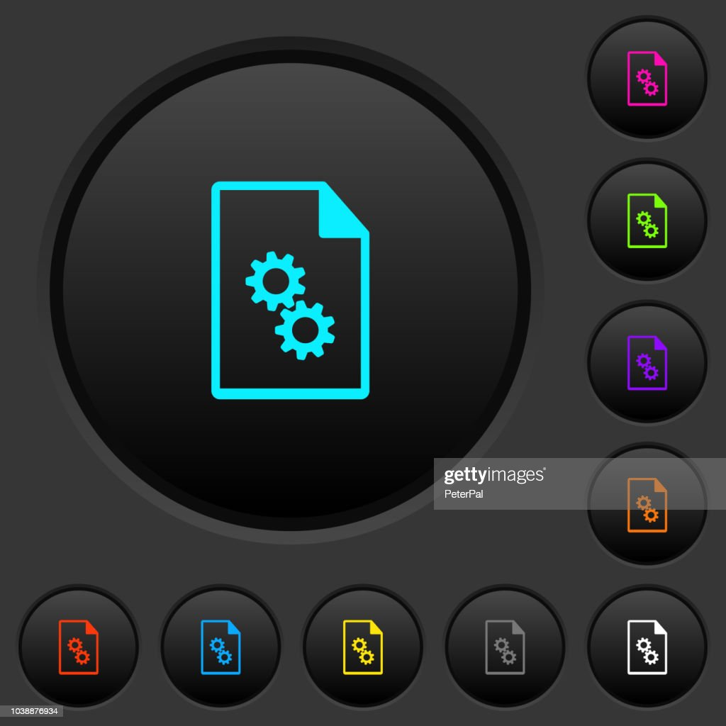 Executable file dark push buttons with color icons