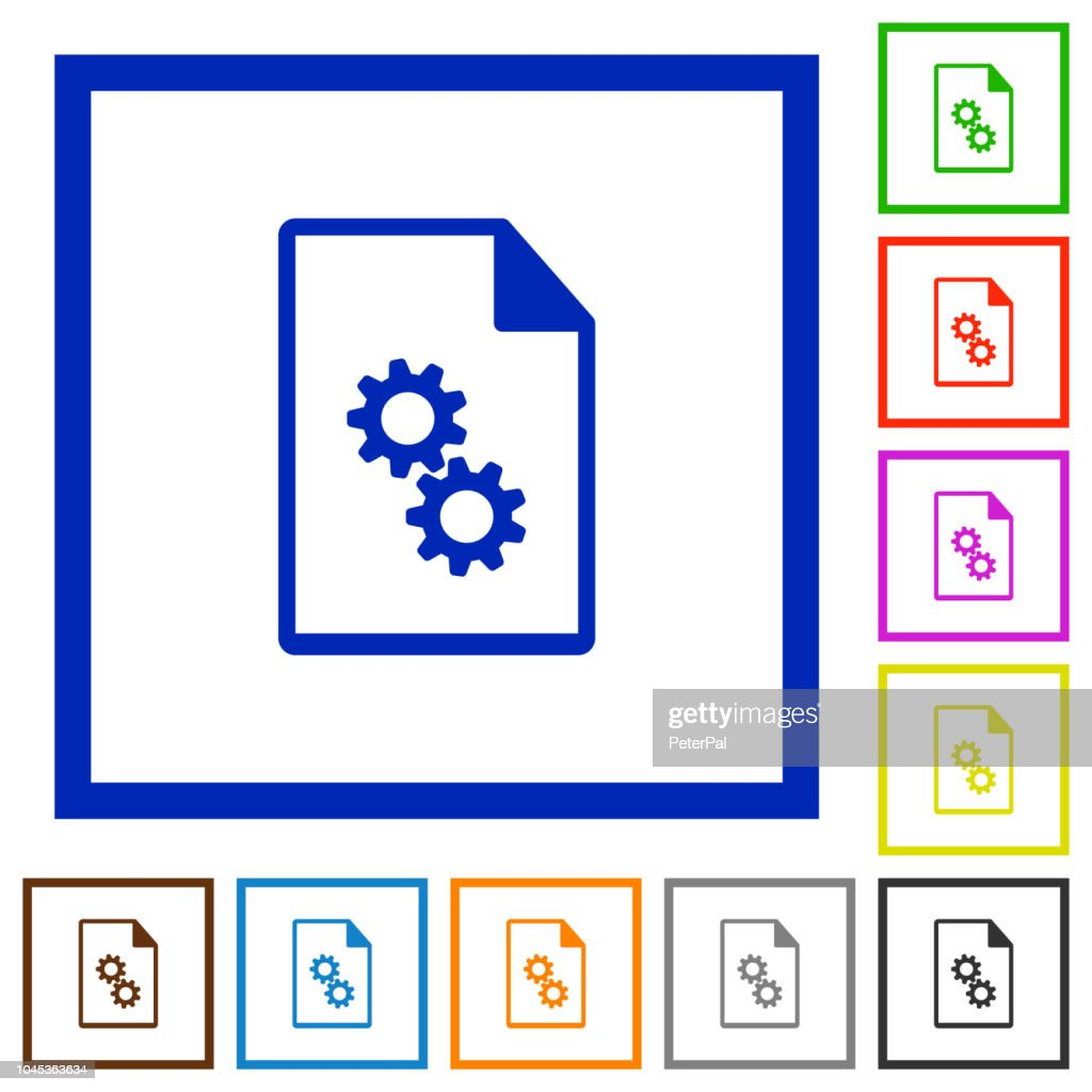 Executable file flat framed icons