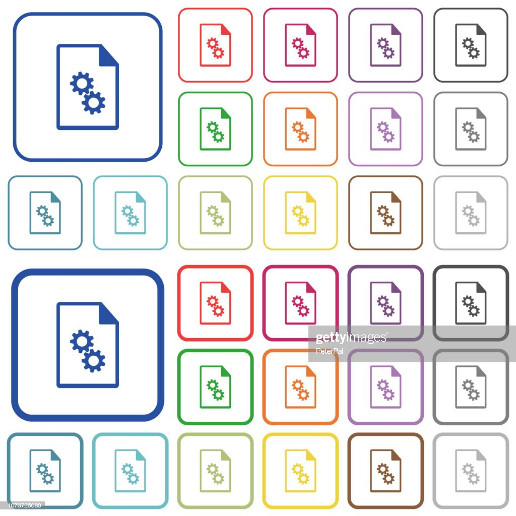 Executable file outlined flat color icons