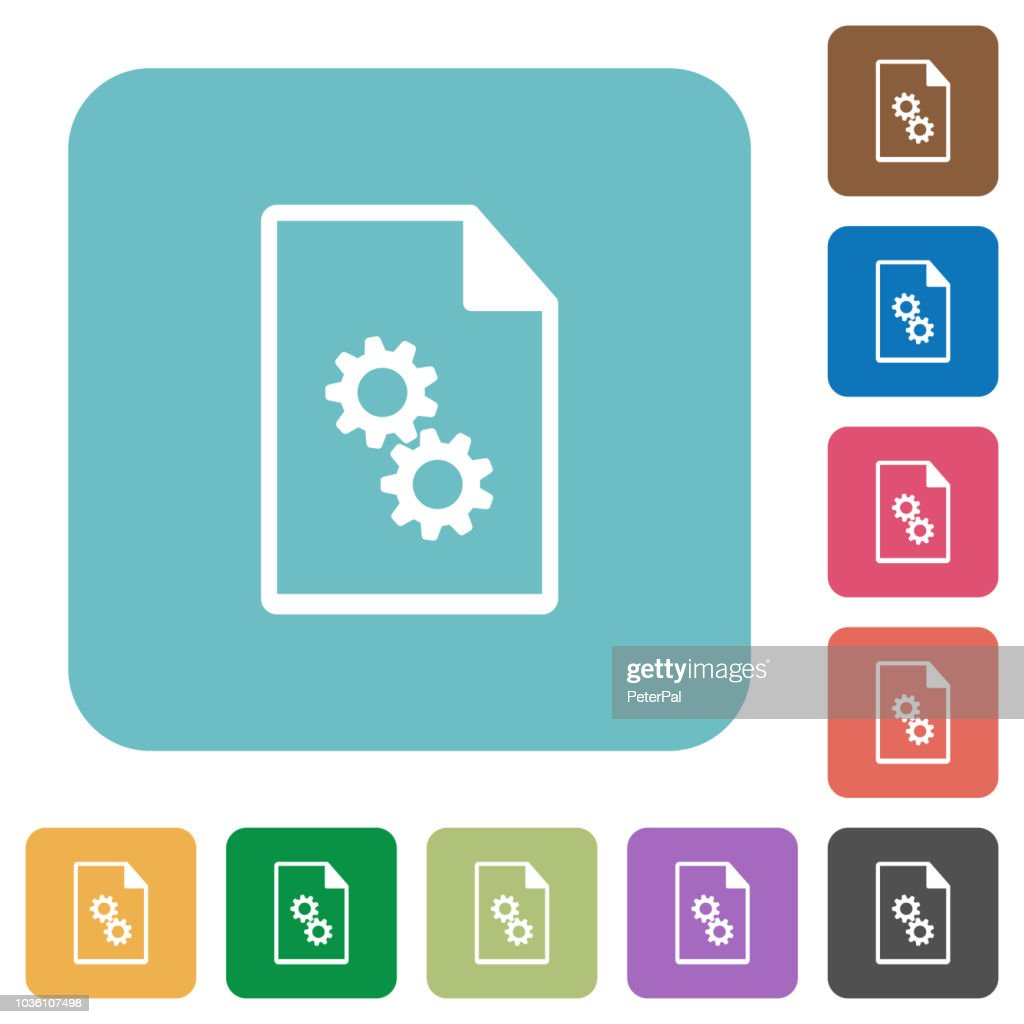 Executable file rounded square flat icons