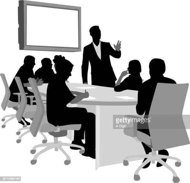executive boardroom - conference table stock illustrations, clip art, cartoons, & icons
