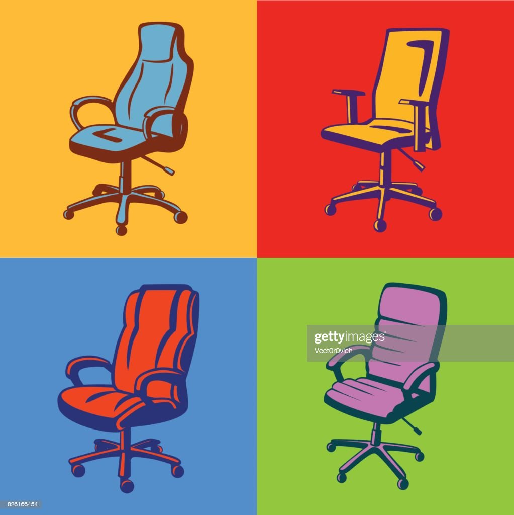 Executive Chairs in Pop Art Style. Colorful Office Armhairs