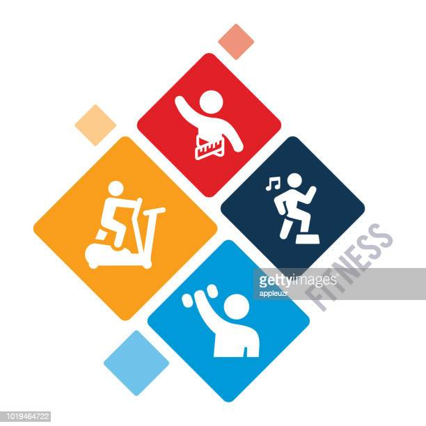 exercise and fitness illustration - step aerobics stock illustrations, clip art, cartoons, & icons