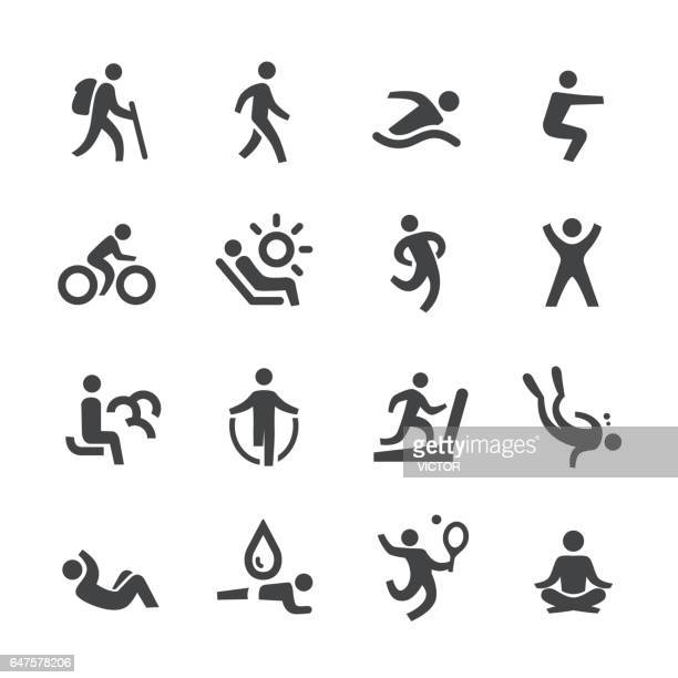 exercise and relaxation icons - acme series - sport stock illustrations