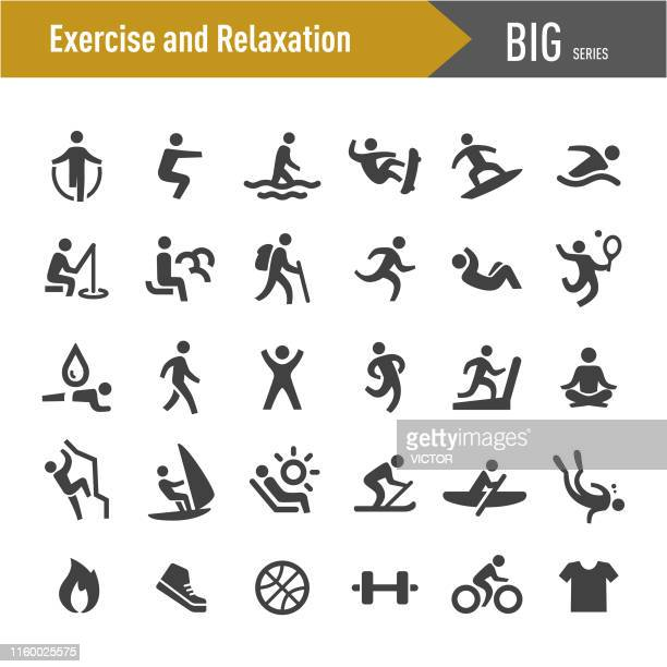 exercise and relaxation icons - big series - simple living stock illustrations