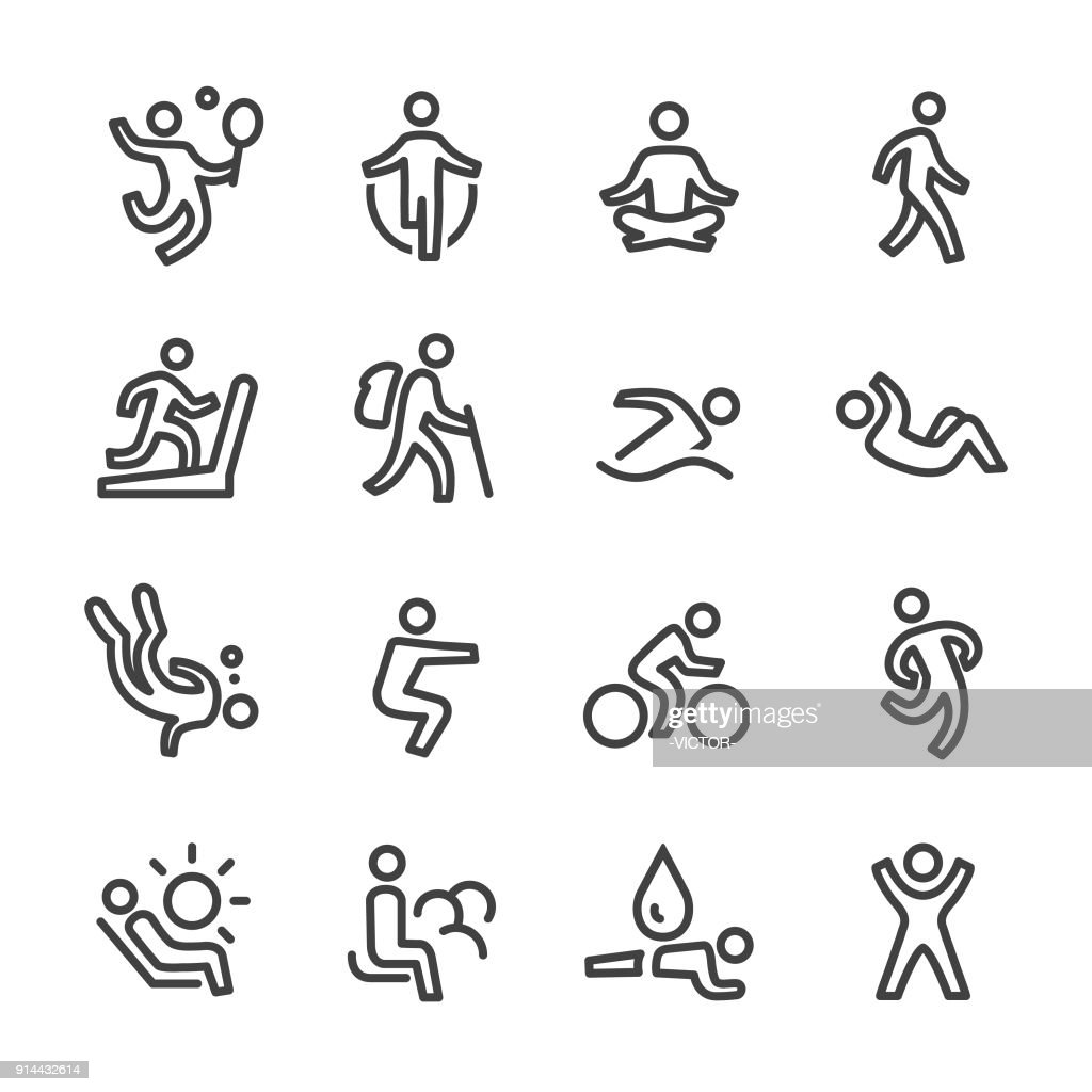 Exercise and Relaxation Icons - Line Series : Stock Illustration