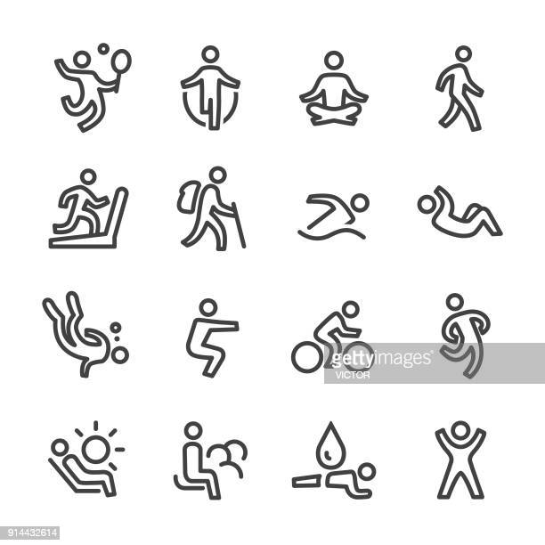 exercise and relaxation icons - line series - sport stock illustrations