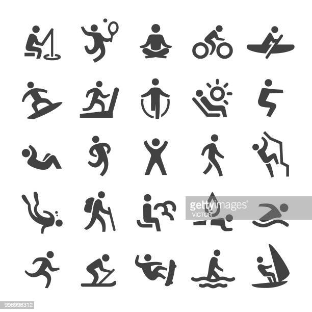 exercise and relaxation icons - smart series - leisure activity stock illustrations
