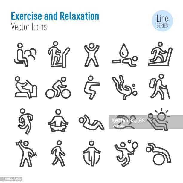 ilustrações de stock, clip art, desenhos animados e ícones de exercise and relaxation icons - vector line series - andar