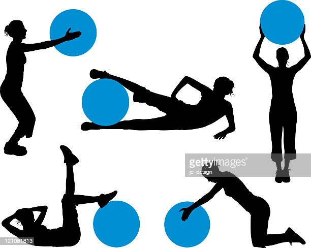 exercise ball silhouette series - teenagers only stock illustrations