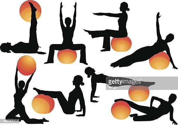 ilustraciones, imágenes clip art, dibujos animados e iconos de stock de pelota de ejercicio ejercicios - pilates