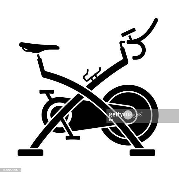 exercise bike symbol - peloton stock illustrations