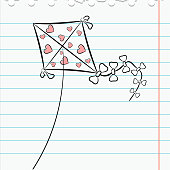 Exercise book leaf with a picture kite. eps10