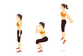Exercise guide by Woman doing squat jump in 3 steps in side view.