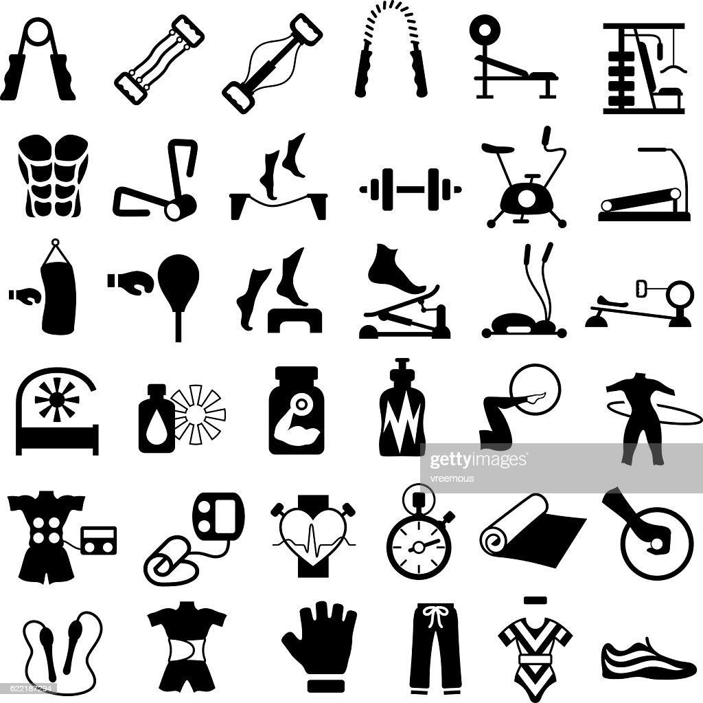 Exercise, Gym and Fitness Equipment : stock illustration