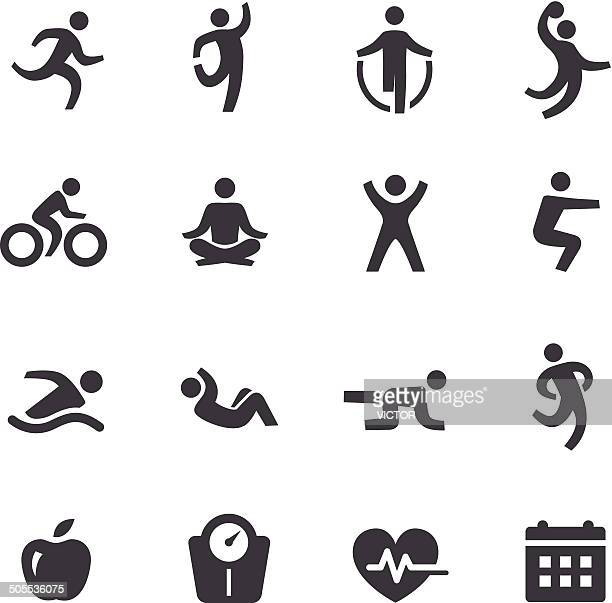 exercise icons - acme series - aerobics class stock illustrations, clip art, cartoons, & icons